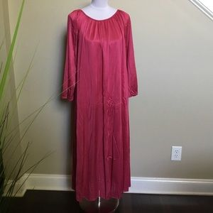 VINTAGE hot pink Polyester long sleeve gown XL 1X